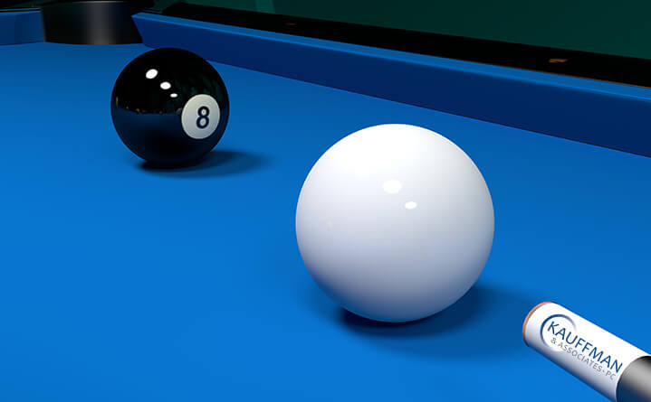 pool game with black eight and white balls